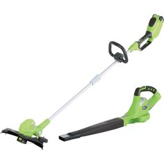 This Greenworks® 40 Volt Li-Ion trimmer/edger and blower set will see you through tough trimming, edging and debris-blowin. Tools And Equipment, Outdoor Power Equipment, Grass Cutter, Landscaping Tools, Places, Lawn Edger, Lugares