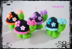 Turtle wt Flower Polymer Clay Charm Bead, Scrapbooking, Bow Center, Pendant, Cupcake topper, Magnet, Ring via Etsy