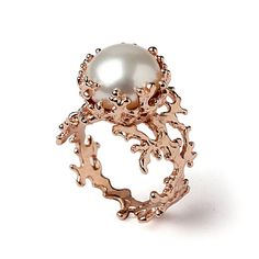 like this if it was smaller and practical. CORAL White Pearl Ring Pearl Engagement Ring 14k Rose by arosha