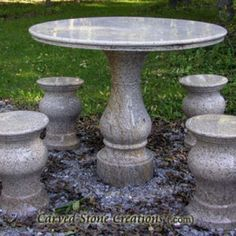 Enjoy an outdoor picnic at this beautiful stone table! Click on the picture to take a closer look! #Stone #Table #Picnic