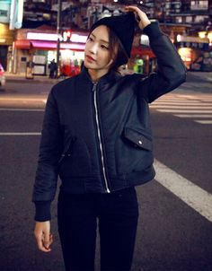 Patch Detailed Bomber Jacket | Korean Daily Hot Look | Pinterest ...