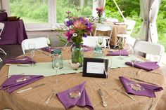 Rustic Wedding table decor. Would be better if the white strip was white lace
