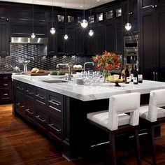 Bathroom : Winsome Modern Kitchen Cabinets Black Bathroom Modern Kitchen Cabinets Black Modern Black Kitchen Cabinets' Modern Kitchen Cabinets Black' Modern Kitchen Cabinets Baton Rouge also Bathrooms Black Kitchen Cabinets, Kitchen Cabinet Design, Black Kitchens, Luxury Kitchens, Interior Design Kitchen, Home Design, Cool Kitchens, Kitchen Black, Modern Kitchens