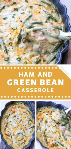 Your new favorite main dish recipe for Easter! Ham and Green Bean Casserole is a great way to use up leftovers, along wi Leftover Ham Casserole, Leftover Ham Recipes, Leftovers Recipes, Ham And Green Beans, Ham Dishes, Greenbean Casserole Recipe, Casserole Recipes, Easter Dinner Recipes, Green Bean Recipes