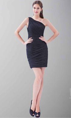 One Shoulder Pleated Shift Little Black Dress KSP245