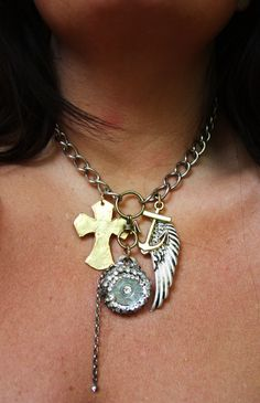 Faith and WHAT Necklace - double sided shotgun shell