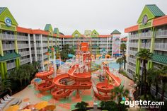 "Guests at the Nickelodeon Suites Resort, one of Orlando's best options for families outside of a theme park, have free access to two on-site water parks. The Oasis water park, seen here, has an Olympic-size pool, waterslides, and a kids' play area (just note that this pool might be closed during the off season). The Lagoon water park, seen here, has a zero-depth entry pool, a four-story water tower, waterslides, two Jacuzzis, and a 400-gallon ""dunk tank."""