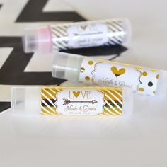 24 wedding favor ideas that don't suck! Like these cute personalized lip balms | Mod Party/Etsy