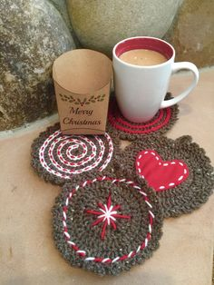 Christmas Coasters by HookedHoltby on Etsy