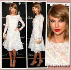 Taylow Swift de Oscar de la Renta en la The Weinstein Company's Academy Award party