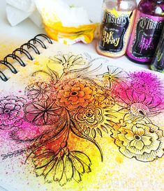 Sketchbook/art journal (or scrapbooking inspo). This artist (Alisa Burke) spritzed ink spray on her illustration. And then journaled. The link shows her process for this page.