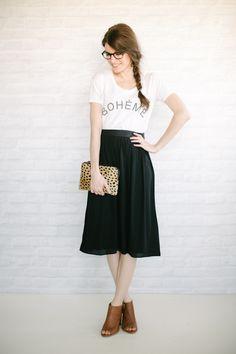 un-fancy: midi skirt + tee