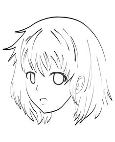 A very simple coloring page of a Manga female character face, From the gallery : Mangas #manga #coloringpages #adultcoloring