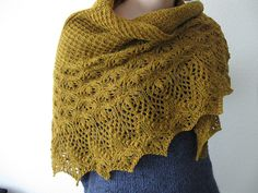 "A beautiful showcase for Loft's ""Hayloft"" colorway. The Echo Flower Shawl by Jenny Johnson Johnen, knit by Ravelry user Blatypus"