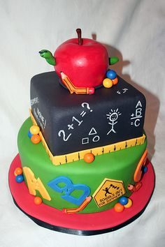 Back to school Cake! Will try making it from paper mache boxes
