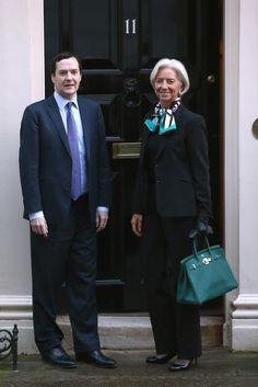Christine Lagarde and George Osborne at 11 Downing Street. Malachite Birkin and Carré Cube scarf