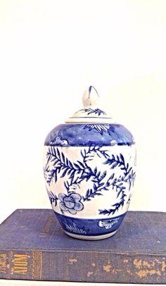 Blue and White Ginger Jar by EncoreVintageDecor on Etsy, $18.00