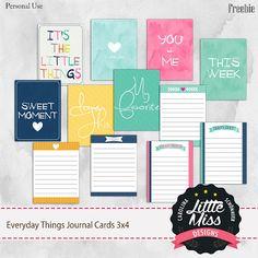 Free Everyday Things 3x4 Journal Cards | Little Miss Carolina Schönauer