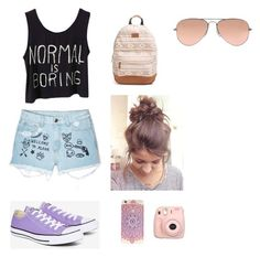 """""""Casual Day With The Bestie"""" by lauren-25ellis on Polyvore featuring Aloha From Deer, Rip Curl, Converse, Ray-Ban and Fujifilm"""