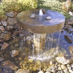 Landscaping And Outdoor Building , Modern Backyard Waterfalls : Round Fountain Modern Backyard Waterfalls
