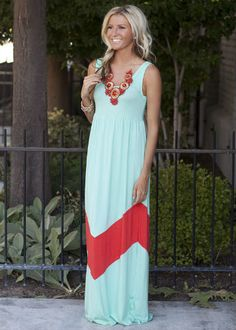 MVB Mint and Coral Color Block Chevron Maxi Dress-