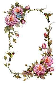 Frame with Pink roses, hummingbird, butterfly - so pretty.