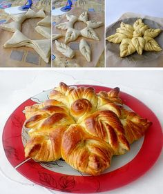 Baking something special for the holiday is fun. This Braided Nutella Christmas Tree Bread is a little twist you can do to add a personal touch to your Bread And Pastries, Bread Recipes, Cooking Recipes, Do It Yourself Food, Bread Shaping, Bread Art, Braided Bread, Pull Apart Bread, Artisan Bread
