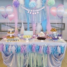 The sweetest #mermaid dessert table by @sprinkieparties in Singapore with desserts by @spatulabakery. Brownies, cupcakes, cake pops, marshmallow pops and other sweet treats sat alongside the cutest 'I'm actually a mermaid' print. Divine! Wishing you a sweet and happy day! Xx
