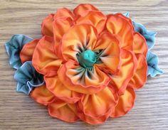 Items similar to Ribbonwork Millinery Flower Applique on Etsy Ribbon Art, Ribbon Flower, Fabric Ribbon, Ribbon Crafts, Flower Crafts, Little Flowers, Faux Flowers, Diy Flowers, Fabric Flowers