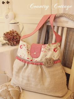 Inspiration--My Country Cottage Garden: Made of antique linen: another new bag!