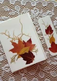 PRESSED LEAVES Card and Bookmark Gift Set  by MyHumbleJumble