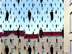 Golconda - El cuadro muestra una serie de hombres dispuestos en el aire, casi idénticos entre sí, vestidos con abrigos oscuros y bombines. Parecen estar cayendo como gotas de lluvia, flotando como globos de helio, o simplemente quietos en el aire, pues no se implica ningún tipo de movimiento. En el fondo se pueden apreciar edificios con tejados de color rojizo, y un cielo azul, parcialmente nublado.  Magritte vestía de forma parecida a los hombres de la obra.