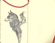 Wolf and Rabbit, pen and pencil By animadvertistine Eye Pencil Drawing, Angelica Maria, Wolf Eyes, Animal Symbolism, Art Sketchbook, Art Forms, Creative Art, Amazing Art, Art Drawings