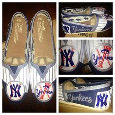 Custom Hand Painted New York Yankees Baseball TOMS Shoes. $95.00, via Etsy.
