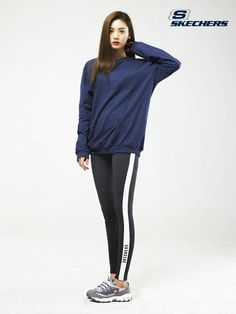 Nana After School Orange Caramel Skechers - Blue Sweatshirt, Leg-stripe Leggings
