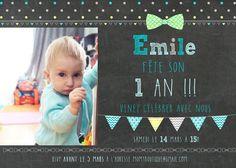 Carte d'invitation 1er anniversaire - personnalisée_fête garçon, noeud papillon, premier anniversaire, invitation, chalkboard