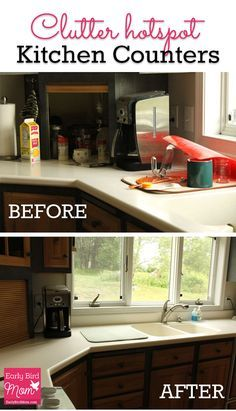 Kitchen counters are a clutter magnet in my home! Here's how I clear mine off every day (with before and after pictures). A little organization in your life goes a long way!