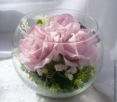 Купить Розы в стекле (полимерная глина) - розовый, цветы в стекле, цветы в интерьере, цветы в вазе