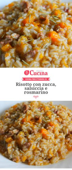 Risotto con zucca, salsiccia e rosmarino Cooking Steak On Grill, Cooking Wine, Cooking Chili, Cooking Corn, Cooking Utensils, Ham Recipes, Cooking Recipes, Healthy Recipes, Cooking Games