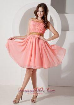 Watermelon A-line Bateau Knee-length Chiffon Beading Prom Dress