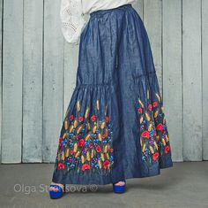 Embroidered skirt denim maxi skirt floor lenght maxi skirt gray skirt blue skirt in boho maxi pleated skirt blue boho skirt women skirt  Embroidered maxi skirt Summer mood is an embroidered gray skirt with maxi length. On the waist line there is a row of elastic bands on the cord, which makes it possible to wear this skirt with any shape and waist. At the bottom of the embroidered skirt is a row of folds that visually supports the ensemble with a pink blouse, which you can also buy in my…