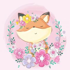 Cute fox with flower cartoon Premium Vec. Fuchs Illustration, Cute Animal Illustration, Watercolor Animals, Watercolor Flowers, Cute Drawings, Animal Drawings, Cute Images, Cute Pictures, Fox Drawing