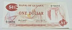 GUYANA 1 Dollar ND(1966-89), SPECIMEN/ PERFORATED SPECIMEN, UNC, RARE Old Middle