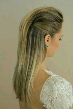 Wedding Hair Down modern and sleek wedding hairstyle; via Marcos Proenca - Half up half down wedding hairstyles flatter almost any bride because of the versatility of styles. Be inspired and learn how to achieve this look. Down Hairstyles, Pretty Hairstyles, Straight Hairstyles, Prom Hairstyles, Korean Hairstyles, Japanese Hairstyles, Simple Hairstyles, Vampire Hairstyles, Faux Hawk Hairstyles