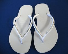 4f661490539514 Custom White Decorated Havaianas Flip Flops with Crystals  95.00 Bridal Flip  Flops