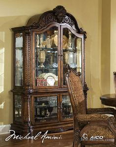 Antiqued Fruitwood Victorian Curio Cabinet #AICO Living Room Furniture,  Dining Rooms, Living Room