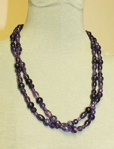 Beautiful Amethyst Cabochon & Faceted Bead Necklace, Two Strands | eBay