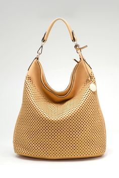 Laser Cut Avery Hobo in Gold Honey
