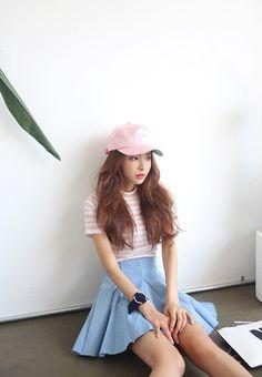 korean fashion skirt blue pastel pink pale shirt