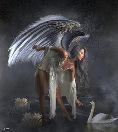 Fairy Spells by G Berry Dark Fantasy Art, Fantasy Girl, Fantasy Artwork, Fantasy Images, Fairy Spells, Afro Punk Fashion, Angel Artwork, Angel Drawing, Angel Warrior